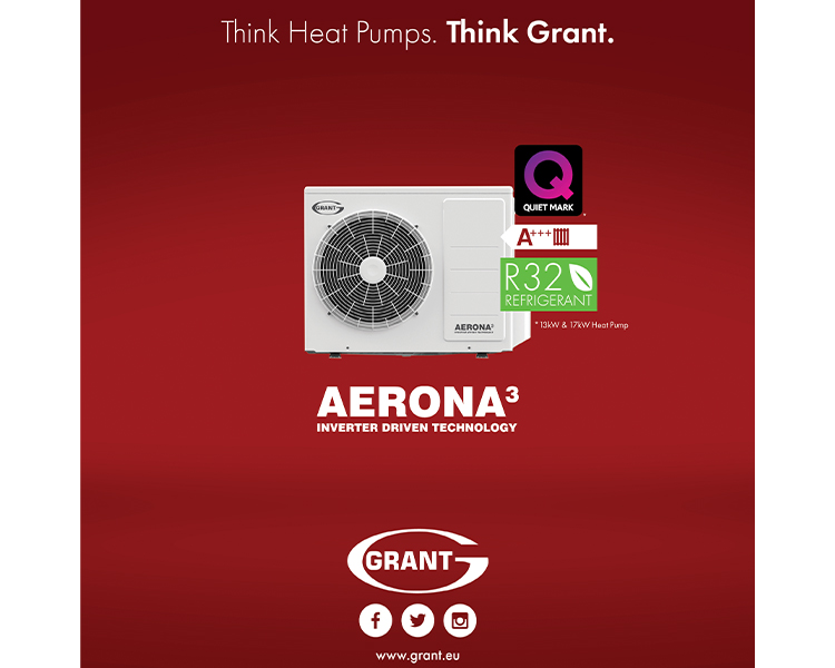 Grant Aerona3 R32 13kW and 17kW air source heat pumps achieve Quiet Mark recognition